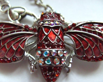 Lovely, Statement necklace, Cicada, moth, butterfly, Necklace, Brooch , RED, crystal, sparkly, by NewellsJewels on etsy