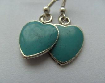 Teal blue, Enamel, love hearts, Earrings, Valentine's day, by NewellsJewels on etsy