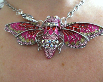 Lovely, Statement necklace, Cicada, moth, butterfly, Necklace , PINK, sparkly, by NewellsJewels on etsy