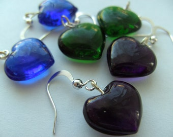 Green, purple or Blue,Love heart, glass, earrings, silver, Valentines day, by NewellsJewels on etsy