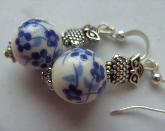 Blue and white, flower, OWL, earrings, Delft blue style, silver owl, ceramics, porcelain, by NewellsJewels on etsy