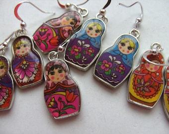 Babushka, Russian Doll, Matroyska, Earrings, Folk, Purple, Blue,orange,  Pink, by NewellsJewels on etsy