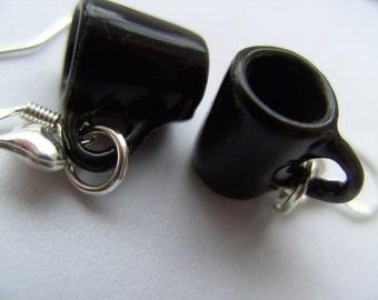 BLACK, mugs, cups, earrings, mini tea cup , love hearts, by Newellsjewels on etsy