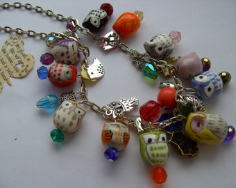 I LOVE OWLS, Short Necklace, ceramic, owl, mix colour, feature necklace, by NewellsJewels on etsy
