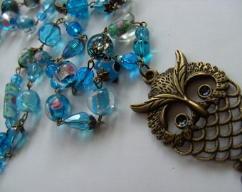 Owl necklace,  Aqua BLUE, Owl, pendant,bronze, glass beads, necklace, lampwork glass,long necklace, By NewellsJewels on etsy
