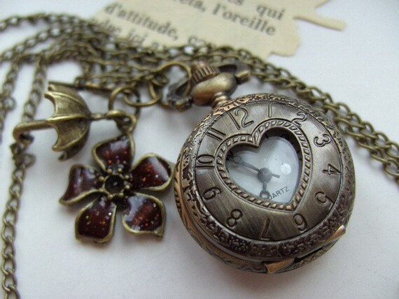 Bronze, vintage style,Round, pocket watch, pendant, heart, charms, enamel, burgundy, umbrella, by NewellsJewels on etsy