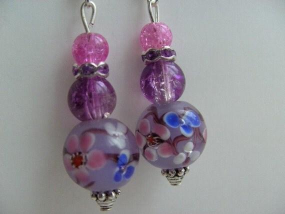 Handmade, OOAK, lampwork, Earrings, Lilac, cobalt blue, Pink, Purlpe, cherry blossom, by kadootje77 on etsy