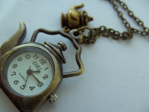 Teapot, Bronze, Vintage style, pocket watch , pendant, long chain, Necklace, Madhatter teaparty, by kadootje77 on etsy