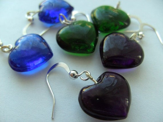 Green, purple or Blue,Love heart, glass, earrings, silver, Valentines day, by NewellsJewels on etsy
