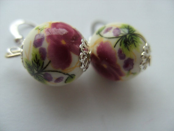 Romantic, Spring, Pink, Lilac, White,Flowers, Tea party, ceramic, Earrings, by NewellsJewels on etsy
