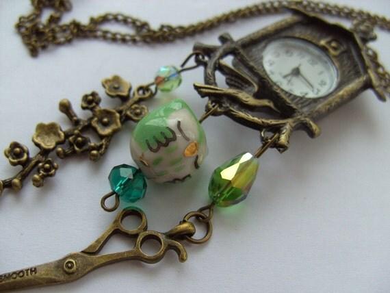 Cuckoo Clock Vintage Style Bronze Owl Green Whimsical