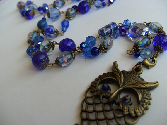 COBALT BLUE, Owl, pendant,bronze, glass beads, necklace, lamp work glass, By kadootje77 on etsy