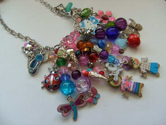 Loaded, Children's, Girls necklace, charm necklace, dragonfly, strawberry, butterfly, ballerina, ladybug, by NewellsJewels on etsy