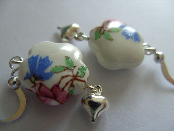 Cottage style, Ceramic, Porcelain, flowers, blue, pink, white, earrings, love heart, by NewellsJewels on etsy