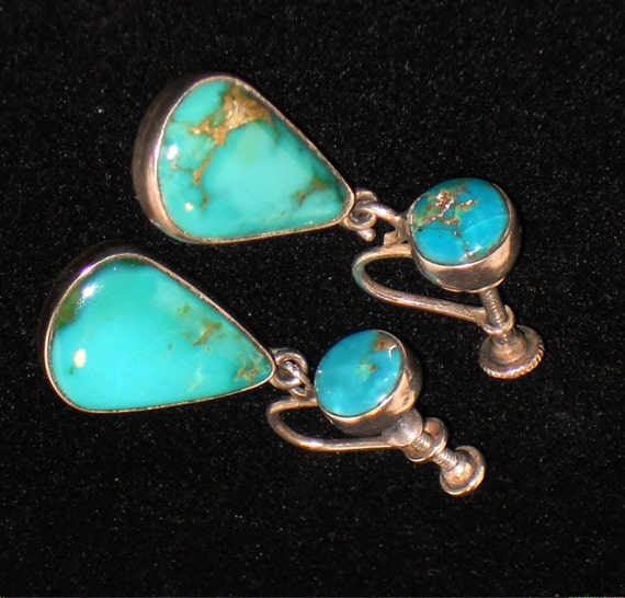 RESERVED Vintage Turquoise and Sterling Silver Dangle Earrings, Native American, Jewelry, Screwback
