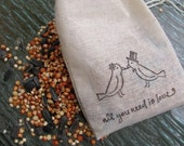 100 muslin drawstring bags- hand stamped with lovebird image and quote