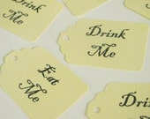 100 MEDIUM SIZE Alice in Wonderland 50 'Eat me' and 50 'Drink me' Tags- Perfect for DIY cupcake toppers and theme decorations