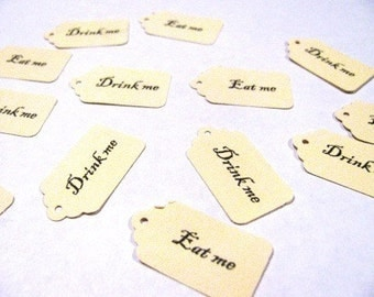 50 MINI Drink me, 50 MINI Eat me, Alice in Wonderland, gift tags- 100 count total