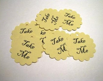 TAKE ME scalloped circle tags- 50 tags