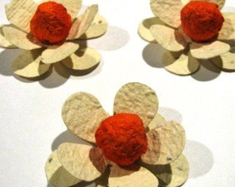 15 Plantable paper FLOWERS- homemade paper mixed with seeds- plant them and they grow flowers - wedding/shower favors