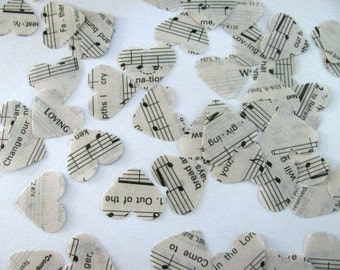 SALE- 1,000 hand punched hearts from hymnals, sheet music- WEDDING CONFETTI