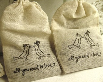 150 Lavender filled muslin drawstring bags- hand stamped with lovebird image and quote