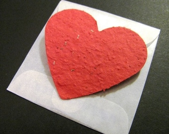 10 Plantable Valentine Heart Cards -Recycled paper scraps mixed with wildflower seeds