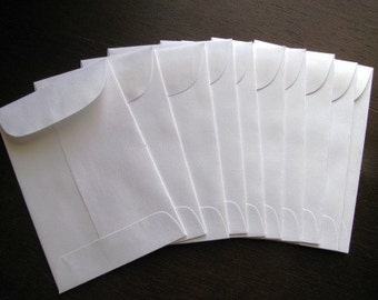 100 Seed packet envelopes- WHITE Recycled paper