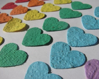 250 Rainbow colored plantable heart confetti- homemade paper embedded with flower seeds