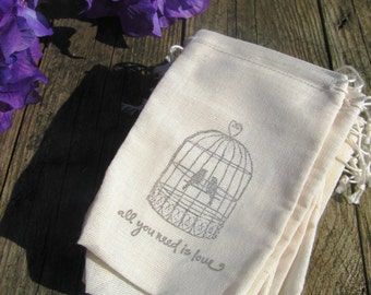 75 Love bird and quote stamped muslin drawstring bags