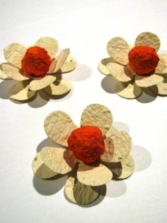 25 Plantable paper FLOWERS- homemade paper mixed with seeds- plant them and they grow flowers - wedding/shower favors