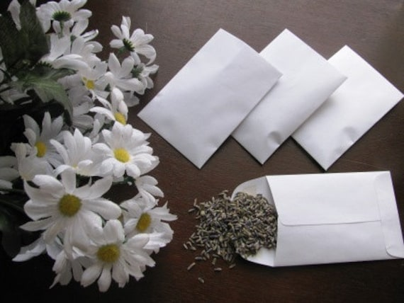 50 LAVENDER FILLED White envelope favors- for lavender wedding toss send off or favors
