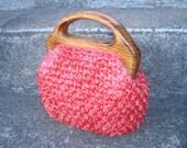 Adorable Tangerine Vintage Purse Marchioness 50s - 60s Crochet