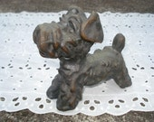 Cute Vintage Terrier Schnauzer Cast Metal Figurine