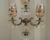 Bohemia Crystal Table Lamp Candelabra / Chandelier  Rhapsody Dot Globes Czechoslovakia