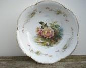 Antique Rosenthal Bowl Pink Roses Iris Bavaria China
