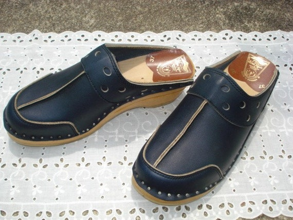 Vintage Swedish Bastad Toffeln Clogs Blue 37 New in Box Late 1970's