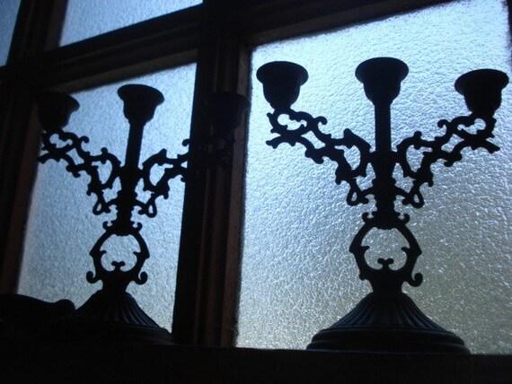 Black Filigree Candelabra Set / Pair Victorian Style