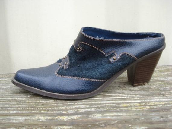 Western Blue Suede Mules Slides Clogs Cowboy Heels