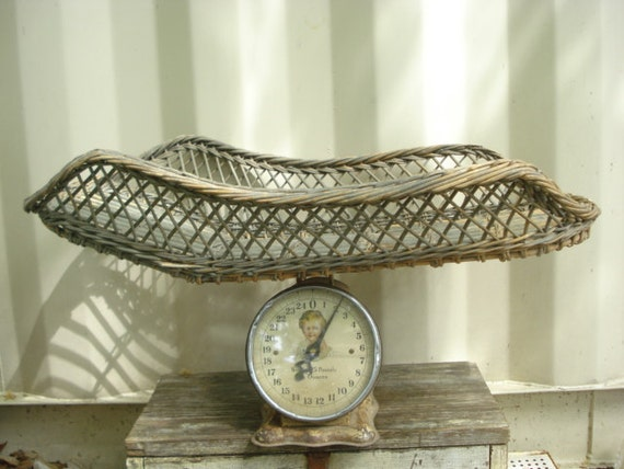Antique Wicker Basket Baby Scale Photo Prop