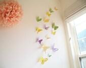 15 Butterflies, Yellow, Green, Purple, Butterfly, Paper, Wall Decor,3D, Nursery, Wedding, Baby Shower, Girls Room, Cardstock, Eco-friendly