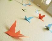 15 Birds, 3D Wall Decor, 3D Wall  Art, Nursery, Boys Room Decor, Wedding,Orange, Blue, Sky Blue, Green Handmade by Simplychiclily Etsy