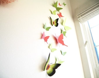 15 Butterflies, Spring, Paper, Wall Decor, Art, 3D, Green, Pink, Nursery, Baby, Wedding Decor,Shower, Cardstock, Eco-friendly