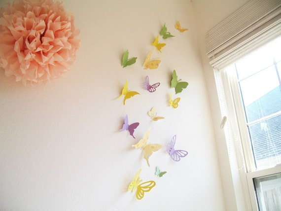 15 assorted multi color butterflies spring by simplychiclily for 3d baby room design