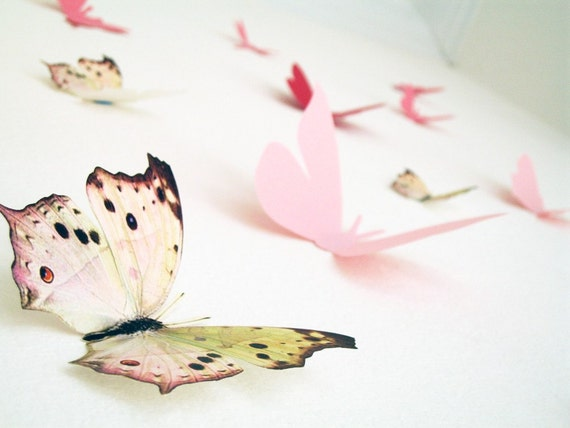 15 3D Butterfly Wall Art, Assorted Multi-color Butterflies, Pink, Red, Paper, Wall Decor, Nursery, Baby,Shower, Girls Room, Cardstock