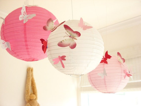 30 Butterflies, 3 Lanterns, Paper, Art,  Hanging, 3D,  Pink, White, Red, Nursery, Baby, Wedding Decor,Shower, Girls Room