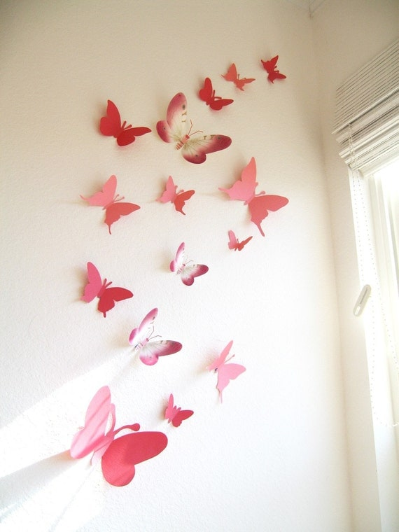 15 butterflies paper wall decor hanging decal 3d for 3d wall butterfly decoration