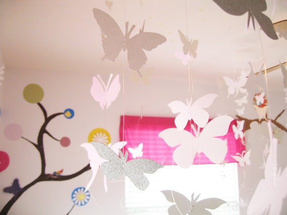 Items similar to 8 strands white butterfly hanging for Baby shower ceiling decoration ideas