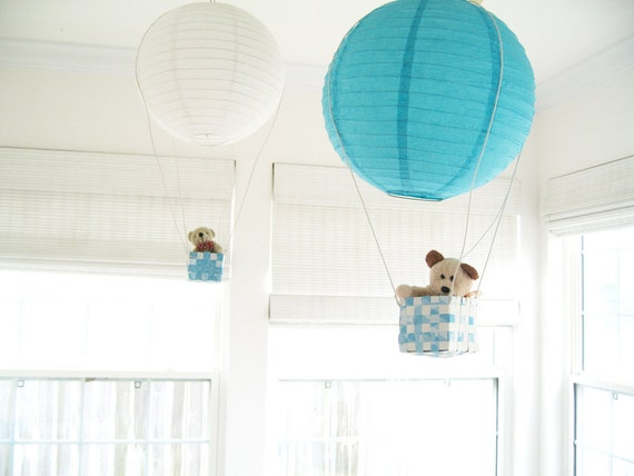 2 Hot Air Balloon Mobile, hot air balloon, Blue, Boys room decor, Ceiling hanging, Baby Boy Nursery, 3D Wall Art
