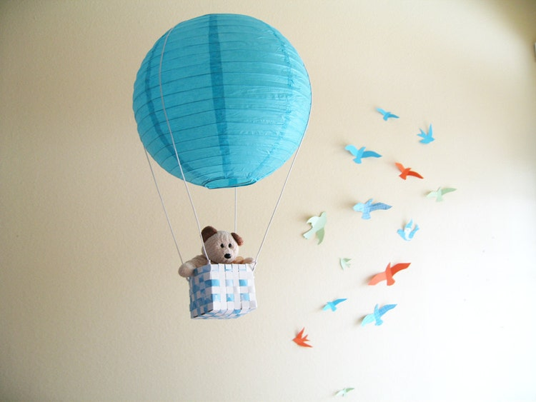 2 Hot Air Balloon Mobile Hot Air Balloon Blue By